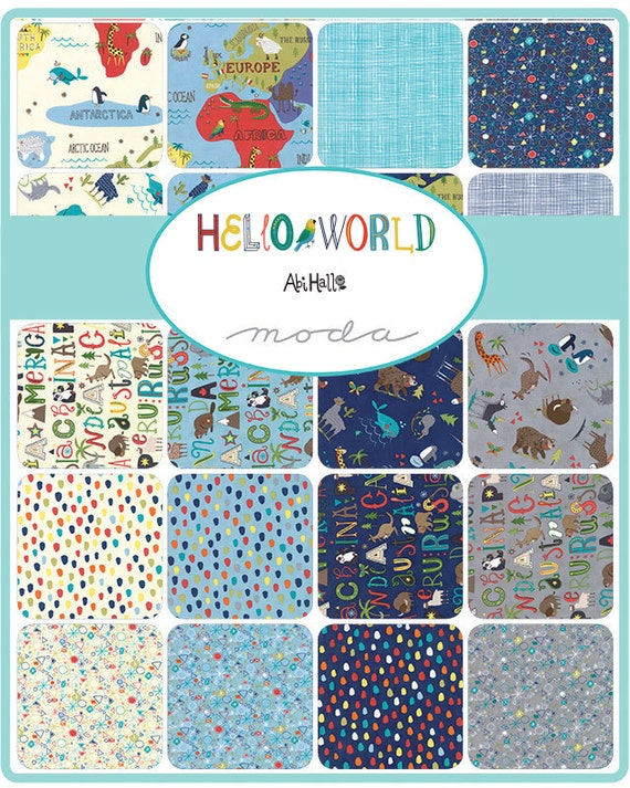 Hello world charm pack moda 5 inch precut fabric squares hello world charm pack moda 5 inch precut fabric squares childrens world map fabric juvenile animal fabric baby quilt fabric from jambearies on gumiabroncs Gallery
