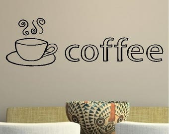 Coffee....Coffee Quotes Wall Words Sayings Removable Coffee Design Coffee Cup Wall Home Decal Wall Decor Lettering