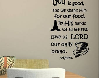 God is great. God is good.....Prayer Before Meal Quotes Wall Words Religious Sayings Lettering Removable Home Decal