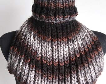 Gray Brown Black Stripes Multicolor Colorblock Knitted Ribbed Chunky Turtleneck Collar Dickey Gaiter Cowl