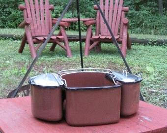 Enamelware Camp Set Picnic Potluck 5 Piece Tote Lids RARE Brown Graniteware Nice Camping Glamping Gift