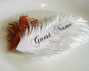 Custom order - Blank Feather place cards - handmade of iridescent White paper