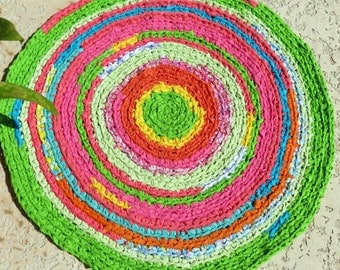 "rag rug, crochet rag rug, ""braided"", shabby chic, boho chic, Lilly Pulitzer, nursery bedding, at home on the porch, Lilly Pulitzer bedding"