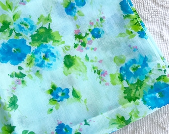 Vintage 1960's Sheer Fabric Blue Floral Cotton Yardage