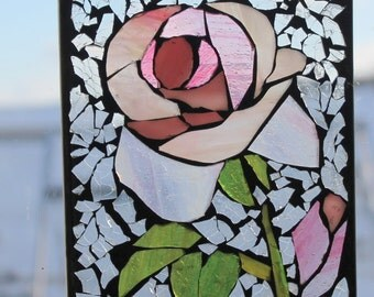 Mosaic Pink Rose Sun-catcher . Stained Glass SunCatcher or wall Decoration.