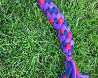 Super Strong Dog Tug Toy - Dog Agility Tug - Obedience Flyball Training Reward - Super Durable Fleece  Dog Rope Tug Toy - Blue Red Purple