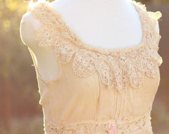creme brulee shabby cottage blouse, tea dyed vintage lace cotton top, french shabby cream upcycled silk beaded blouse