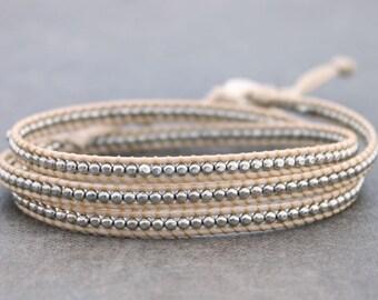 Beaded Bracelets Wrap Woven Beige Silver Cube