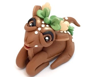 Polymer Clay Baby Fawn (DEER) Figurine
