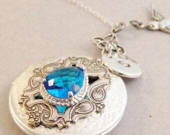 Victorian Blue Topaz Sparrow,Blue Topaz,Locket,Antique Locket,Blue Topaz Necklace,Sparrow,Bird Locket,Initial,Birthstone,Personalized,Blue,