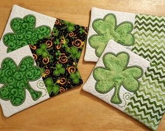 St. Patrick's Day Mug Mats ~~ St. Patrick Decor ~~ Quilted Mug Mat ~~ Primitive Spring ~~ Kitchen Decor ~  Set of 2 ~~ FAAP ~~ OFG Team