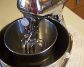 ON SALE Vintage Hamilton Beach Chrome Stand Mixer, Complete and Working, Model H, 1940s-50s
