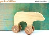 ON SALE bear rolling toy, wooden push toys, waldorf wooden toys, wood baby toy