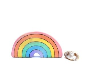 rainbow wooden toy, pastel rainbow toy, waldorf wood toys, wooden waldorf toy, rainbow