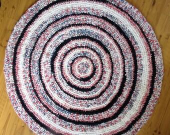 "41"" Diameter Crocheted Rag Rug,  Crocheted Rag Rug,  Handmade Rug, Kitchen Rug, Home and Living Decor, Floors and Rugs, Rugs, Home Decor"