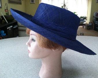 Vintage Importina Straw Sun Hat in Navy Blue