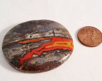 Very Large Red Banded Agate Cabochon  48 mm X 40 mm X 8.1 mm;  27 gms;  Bead Embroidery, Silversmithing, Wire Wrapping, Collecting, Display