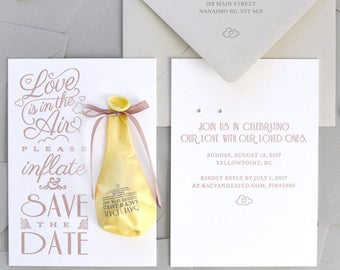 Love Is In the Air - Letterpressed Save the Date With Balloon