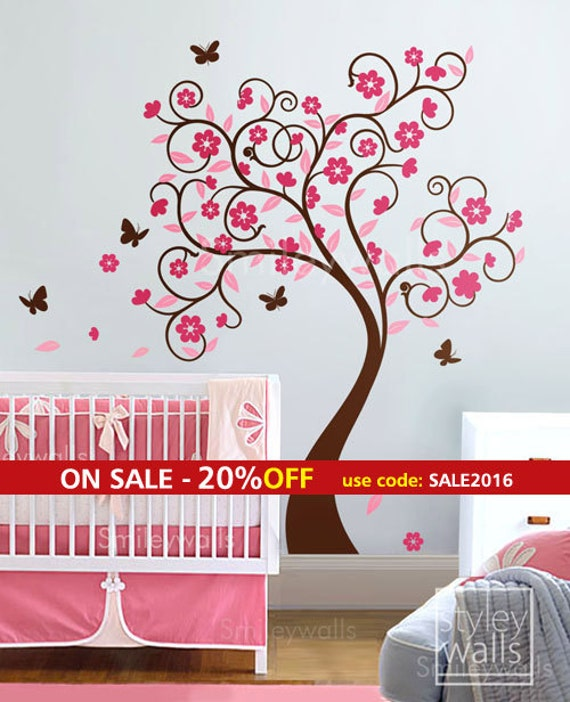 Cherry Blossom Tree Wall Decal, Flower Tree Wall Decal, Curly Flower Tree Butterflies for Kids Children Room and Nursery Wall Decal Sticker