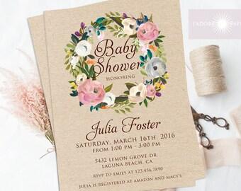 Wreath Baby Shower Invitation, Floral Baby Shower Invite, Wreath Invite, Rustic Baby Shower Invite, Kraft, Printable, Digital, jadorepaperie