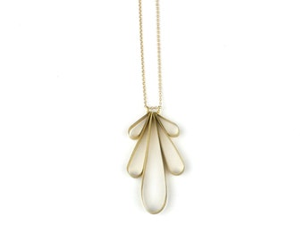 Necklace - Small Round Wing Fan - Brass