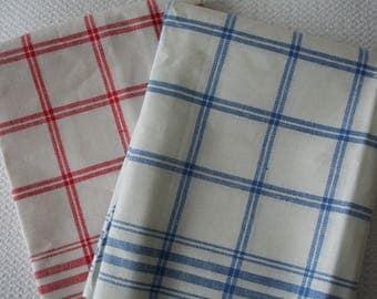 Plaid Linen Dishtowels Red Windowpane or Blue