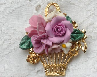 Rose Brooch with Pink Roses, Flower Basket, Vintage Brooch, Jewelry, Gift for Her