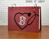Index card binder with stethoscope with your monogram, nursing student, nurse, medical student gift, college, scrub pocket notes