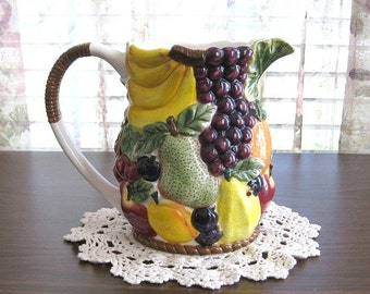 Ceramic Fruit Pitcher Pottery Pitcher Kitchen Decor Wedding Gift Ceramic Pitcher Art Pitcher Vase Water Pitcher Milk Juice Hand Painted
