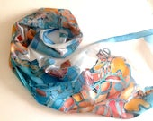 Hand painted silk scarf-orange tones flowing lines ponge silk-wearable art 18x72inches