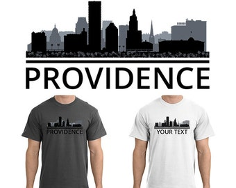 Providence Skyline T-Shirt - Men Women Youth Long Sleeve Personalized Custom Tee - RI Rhode Island Cityscape