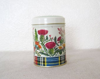 Vintage Small Round Tin Container Laird's Larder Floral Scottish Thistle Plaid Tartan Scotland