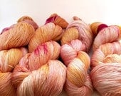 Peach Pink Yellow Cream Silk/Wool Hand Dyed Laceweight