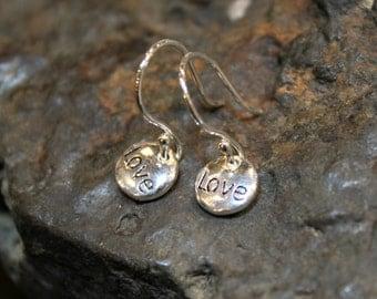 Love Dainty Sterling Silver Earrings