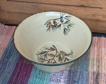 Large handmade pottery bowl - 44 oz bowl - Handmade ceramic serving bowl - Large Rustic Pottery Bowl in Pinecone bpc0109