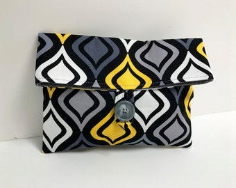 Ready To Ship, Makeup Bag, Cosmetic Bag, Black Gray and Yellow