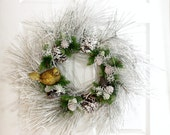 Snow White Wreath * Winter Wreath * Christmas Wreath * Front Door Wreath * Bird Wreath * Holiday Wreath * Christmas Decor * Holiday Decor