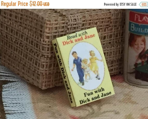 """SALE Miniature Book, """"Dick and Jane"""", Printed Inside Pages, Dollhouse Miniature, 1:12 Scale, Color Pages, Mini Book, Readable Mini Book"""