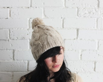 Hand Knit Beanie in Oatmeal , Cable Knit Womens Winter Hat with Pom Pom
