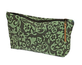 Upcycled Green and Brown Floral Cotton Zip Pouch Cosmetic Bag Clutch