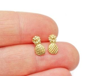Pineapple Post Earrings // LanaBetty // Brass + Sterling Silver