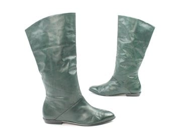 Vintage 80s 90s Riding Boots Dark Green Leather Knee High Tall Flat 1980s 1990s Womens Size 11
