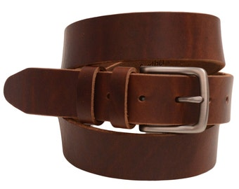 """Men's 1 3/8"""" Plain Rustic Walnut Retanned Leather Belt Natural Edge Double Loops Slim Buckle Matte Finish Made In USA"""