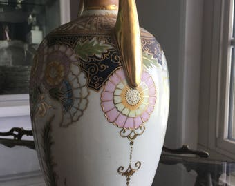 Antique Rare Gold Beaded Hand Painted Pastel Colors  Nippon Vase with Handles