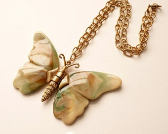 Vintage Bakelite Butterfly Pendant in Green, Rust and Beige with 19 Inch Gold Chain c. 1960s