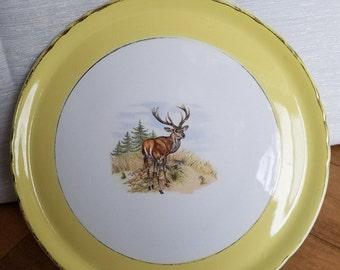 Vintage St. Hubert Orchies Moulin Des Loups France Shabby Deer Platter