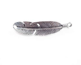Feather Connector Charm: Antique Silver Finish - Connector Charms for Bracelets
