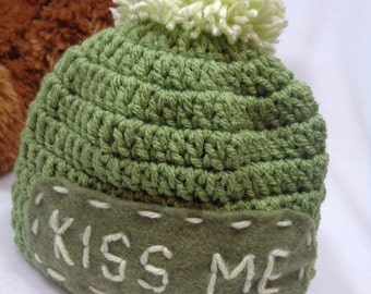 St. Patrick's Day Hat, Olive Green Kiss Me Cap, Irish Pom Pom Hat, MADE TO ORDER  Gift for Irish Baby, Present for St. Patty's Day Baby