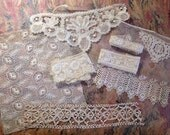 Antique assortment of Lace - beautiful ivory panels and trim. Perfect for all of your shabby chic projects
