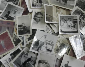 Lucky Dip for Junk Journal -1940-1950s - 20 Snapshot Photos Black and White - Men, Women, Children, Cars, Buildings, Scenes